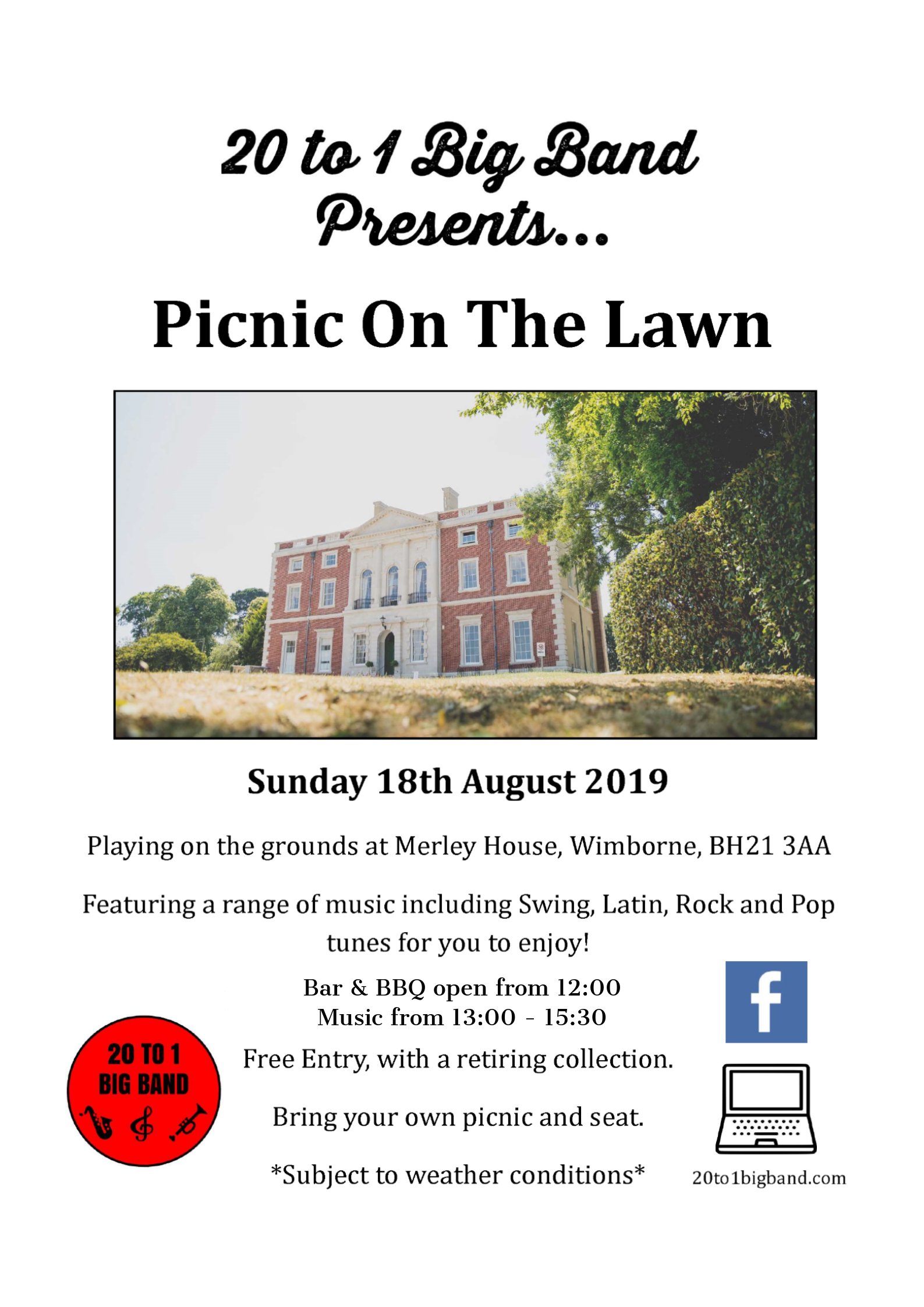 Picnic On The Lawn - with live music from 20 to 1 Big Band - Merley